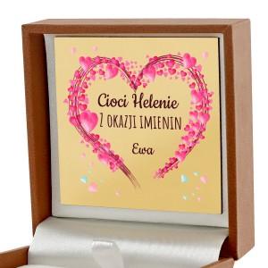 pudełko biżuteryjne z nadrukiem dedykacji na prezent dla cioci na imieniny