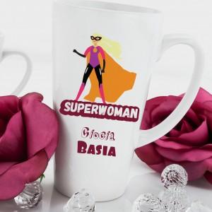 kubek imienny z dedykacją na upominek dla cioci superwoman