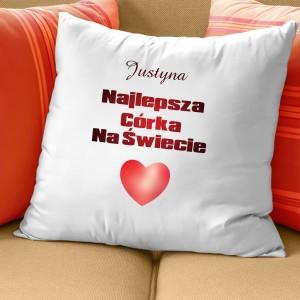poduszka z własnym nadrukiem pomysł na prezent dla córki serce dla córki