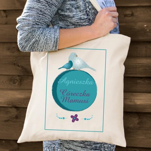torba bawełniana z nadrukiem córeczka mamusi na upominek dla córki