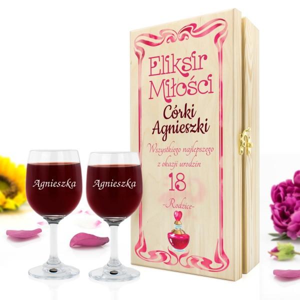 skrzynka na wino z nadrukiem i kieliszkami na prezent dla córki