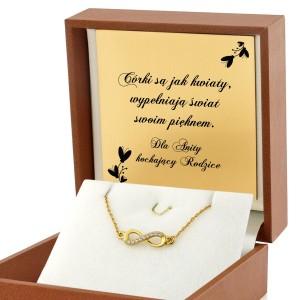 bransoletka celebrytka w pudełku z grawerem na prezent dla córki na 25 urodziny nieskończoność