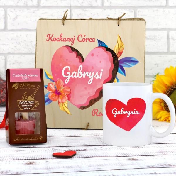 kubek z nadrukiem z czekoladą w pudełku z dedykacją na prezent dla córki kochanej córce