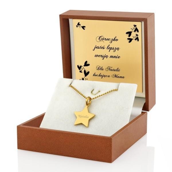 naszyjnik srebrny pozłacany gwiazdka w pudełku z dedykacją na prezent dla córki od mamy