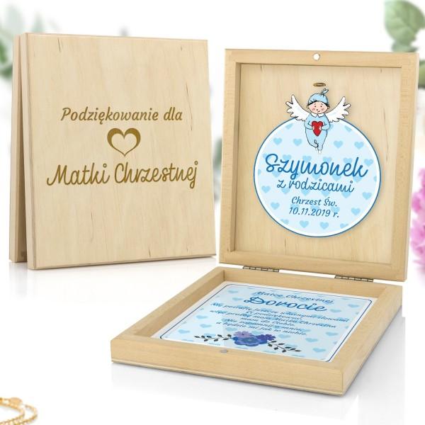 podziękowania dla matki chrzestnej w pudełku od chłopca błękitny aniołek