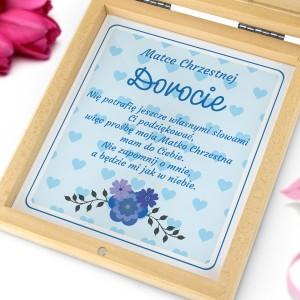 podziękowania dla chrzestnych w szkatułce błękitny aniołek