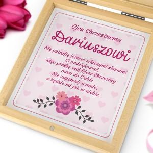 prezent dla ojca chrzestnego na podziękowanie na chrzest od dziewczynki różowy anioł
