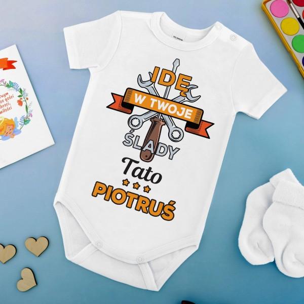 body niemowlęce z napisami na prezent dla mechanika w ślady taty