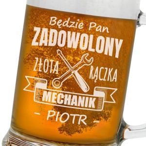 grawerowany kufel do piwa na śmieszny prezent dla mechanika zadowolony