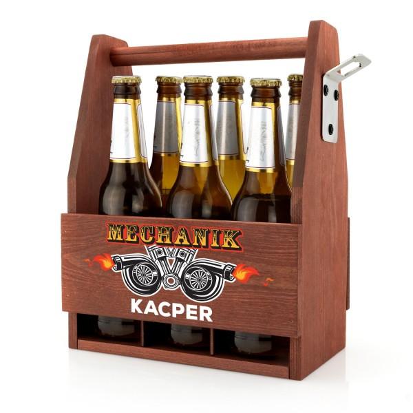 skrzynka drewniana na piwo z nadrukiem imienia i napisu mechanik