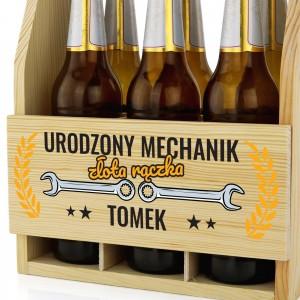 pomysł na prezent dla mechanika drewniana skrzynka na piwo z nadrukiem urodzony mechanik