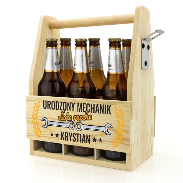 skrzynka na piwo z nadrukiem imienia na prezent dla złotej rączki