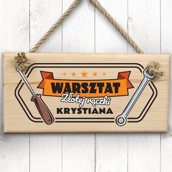 tabliczki na drzwi na prezent dla mechanika warsztat złotej rączki