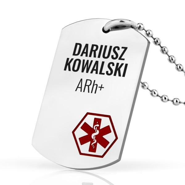 nieśmiertelnik medyczny z nadrukiem na wyjątkowy prezent identyfikator