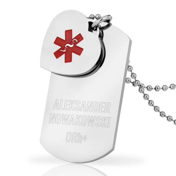 stalowy nieśmiertelnik medyczny z sercem i personalizacją na oryginalny prezent serce życia
