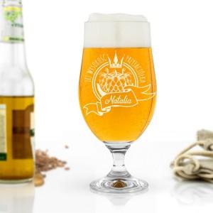 szklanka do piwa z grawerem na na prezent dla przyjaciółki jej wysokość