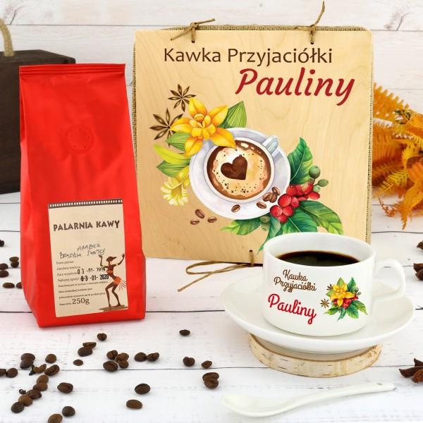 filiżanka personalizowana z kawą na prezent dla przyjaciółki na urodziny kawka
