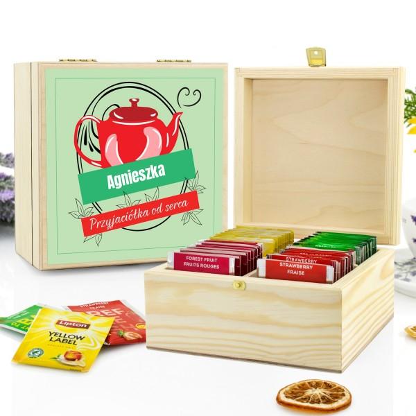 zestaw herbat w skrzynce z grawerem na prezent dla przyjaciółki od serca