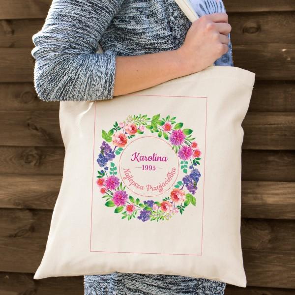 torba bawełniana z nadrukiem na prezent dla przyjaciółki wianek kwiatów