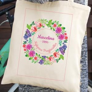 torba na ramię z własnym nadrukiem na prezent dla przyjaciółki na 18 od serca wianek kwiatów