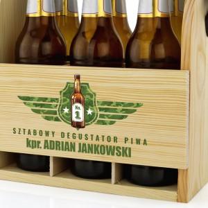 skrzynka na piwo z grawerem na prezent dla żołnierza sztabowy degustator