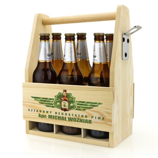 drewniana skrzynka na piwo z nadrukiem dla żołnierza na prezent