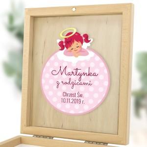 upominek dla matki chrzestnej w pudełku z personalizacją aniołeczek