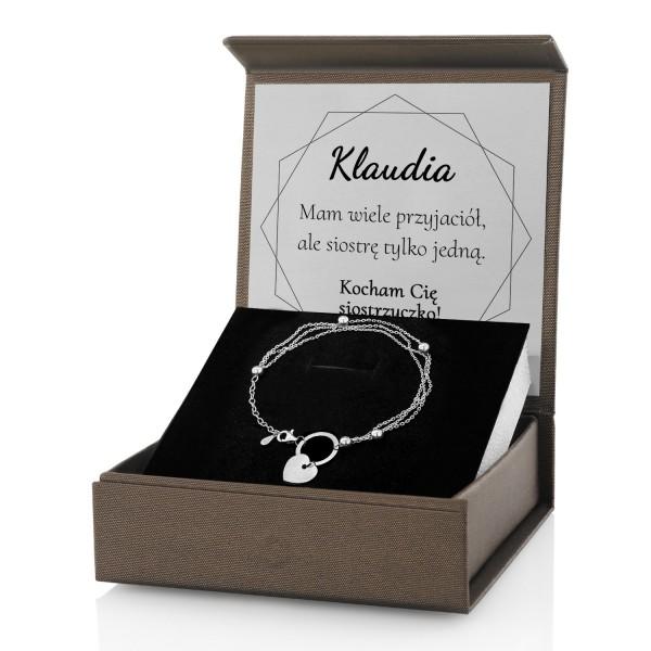 bransoletka z dedykacją w pudełku na prezent dla siostry