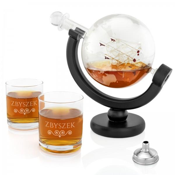 karafka do whisky globus na pomysł na prezent urodzinowy