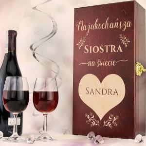 drewniana skrzynka na wino na prezent dla siostry na urodziny