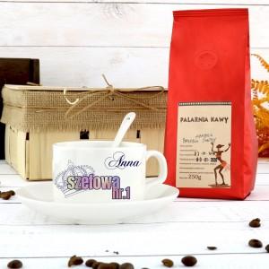 filiżanka z dedykacją i kawa ziarnista na elegancki prezent dla szefowej nr 1