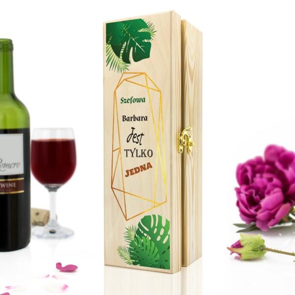 skrzynka na wino z grawerem na prezent dla szefowej na urodziny