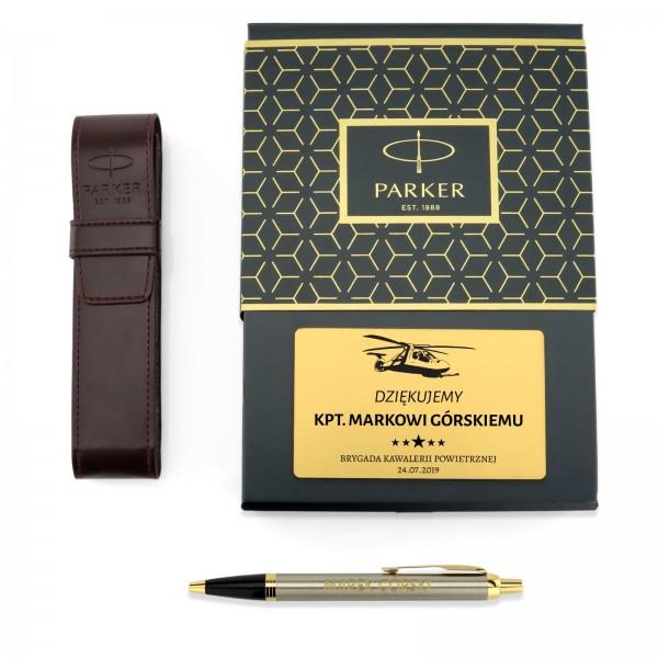 długopis parker z grawerem w etui na prezent dla wojskowego parker brushed