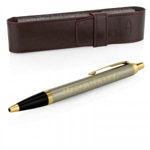 długopis z grawerem na prezent dla wojskowego emeryta parker brushed