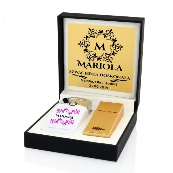 zapalniczka z imieniem w pudełku na prezent dla szwagierki white shine