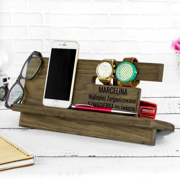 organizer personalizowany z drewna na prezent dla szwagierki