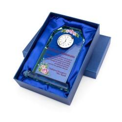 zegar w szkle z nadrukiem dedykacji na prezent dla szwagierki na urodziny