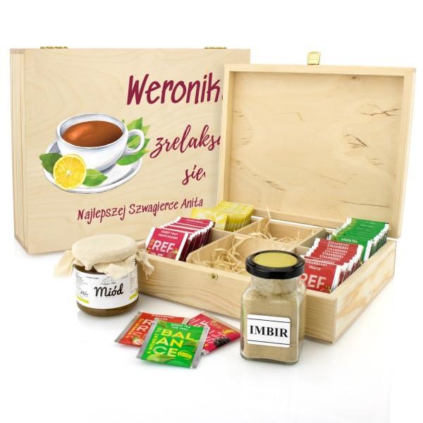 zestaw herbat z miodem i imbirem w skrzynce z nadrukiem  na prezent dla szwagierki