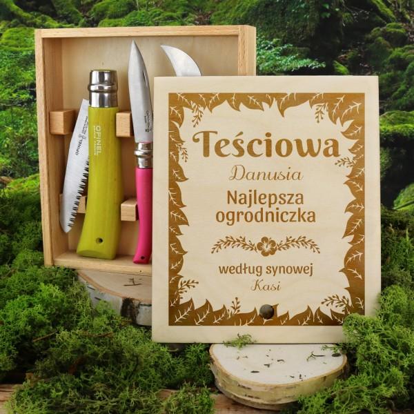 zestaw noży ogrodowych w skrzynce z grawerem na prezent dla teściowej najlepsza ogrodniczka