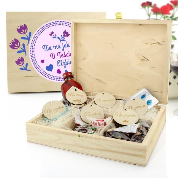 pudełko prezentowe z przegródkami na upominek dla teściowej