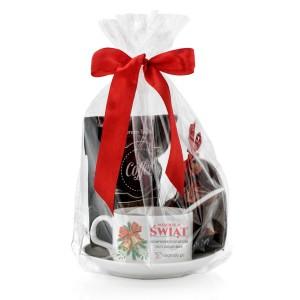 pomysł na prezent dla pracownika filiżanka z personalizacją, kawa i czekolada aromatyczny czas
