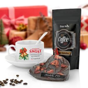 prezent dla pracownika filiżanka z nadrukiem, kawa i czekolada na święta