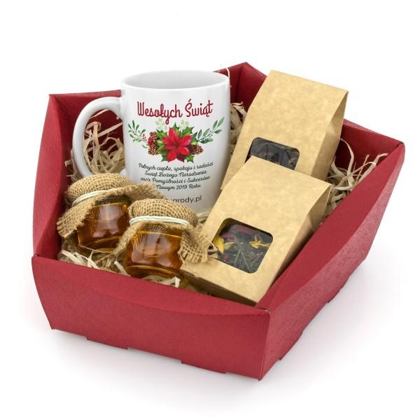 oryginalny prezent dla klientów kubek z nadrukiem, miody i herbaty w koszu świąteczny czas