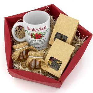 kubek z napisami, miody i herbaty na prezent biznesowy na święta