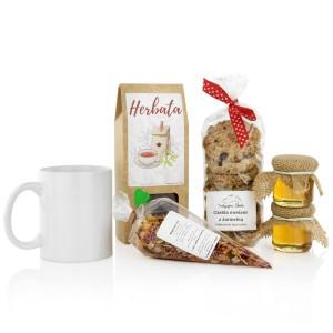 zestaw do herbaty z kubkiem na prezent biznesowy na święta