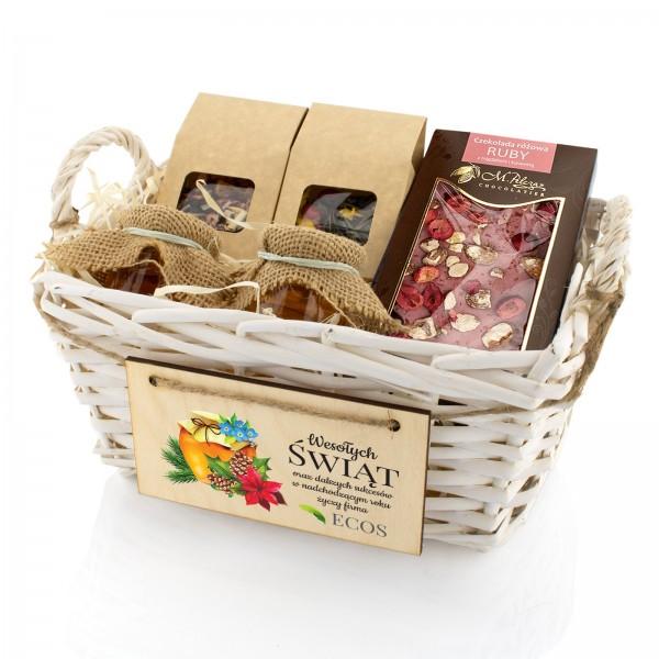 herbaty, miody i czekolada w koszu z życzeniami na prezent dla partnera biznesowego na święta miodowa kraina