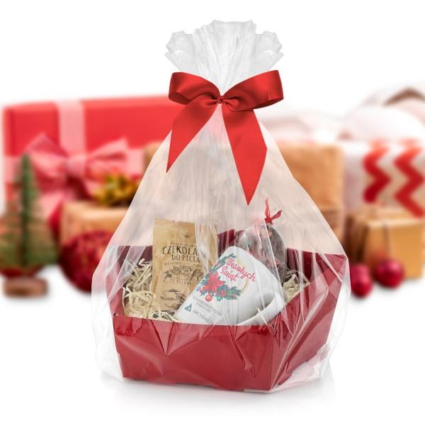 świąteczny zestaw prezentowy dla pracownika z kubkiem i czekoladą