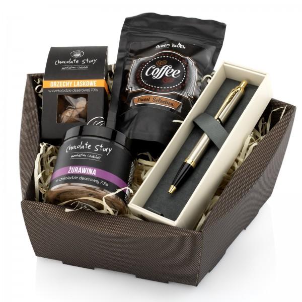 długopis parker z kawą i słodyczami na prezent dla partnera biznesowego