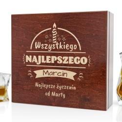drewniane pudełko z grawerem na prezent na 50 urodziny