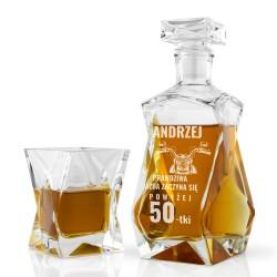 elegancka szklana karafka z dedykacją i szklanki na prezent na 50